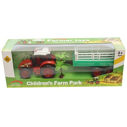 Tractor cu remorca Unika Toy - Rosu - Masinute copii -