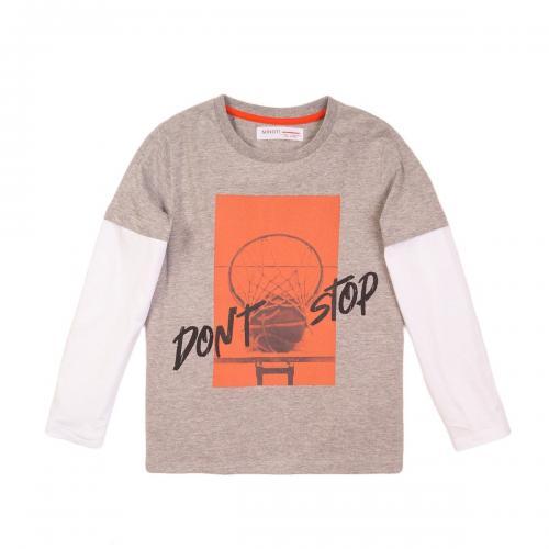 Tricou cu maneca lunga si imprimeu frontal Basket Minoti 3Kiddtee - Imbracaminte copii - Tricouri