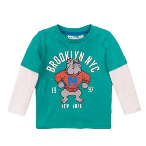 Tricou cu maneca lunga si imprimeu frontal Brooklyn NYC Minoti 3Toddtee - Imbracaminte copii - Tricouri