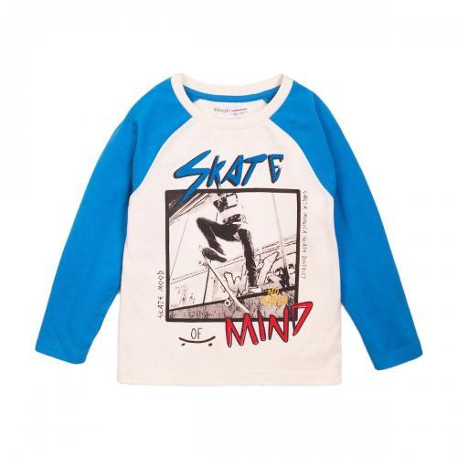 Tricou cu maneca lunga si imprimeu frontal Skate Minoti 3Kidrtee - Imbracaminte copii - Tricouri
